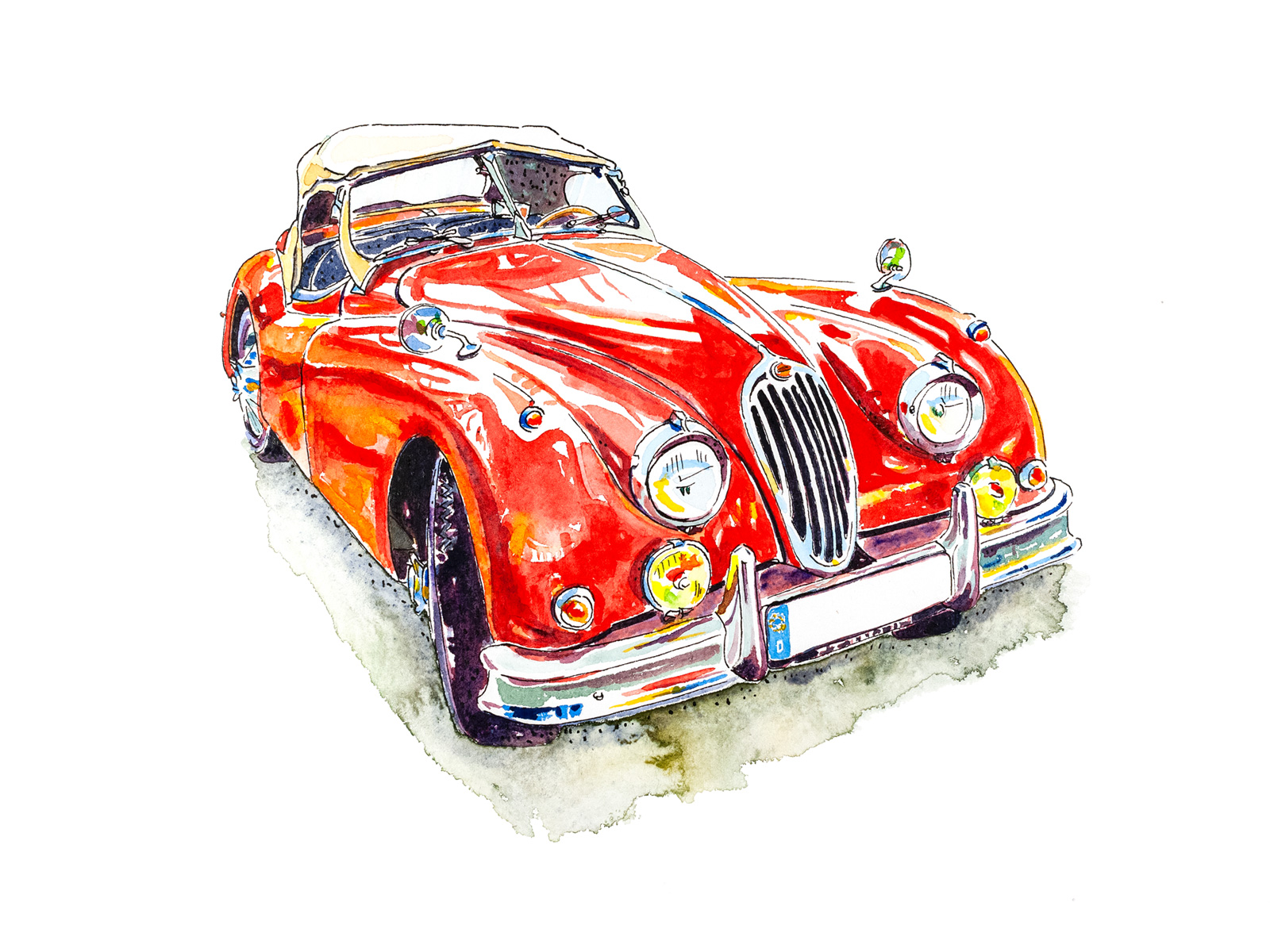 andrew l nash jaguar xk140 red