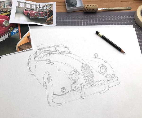 andrew l nash jaguar xk140 red sketch merks 1