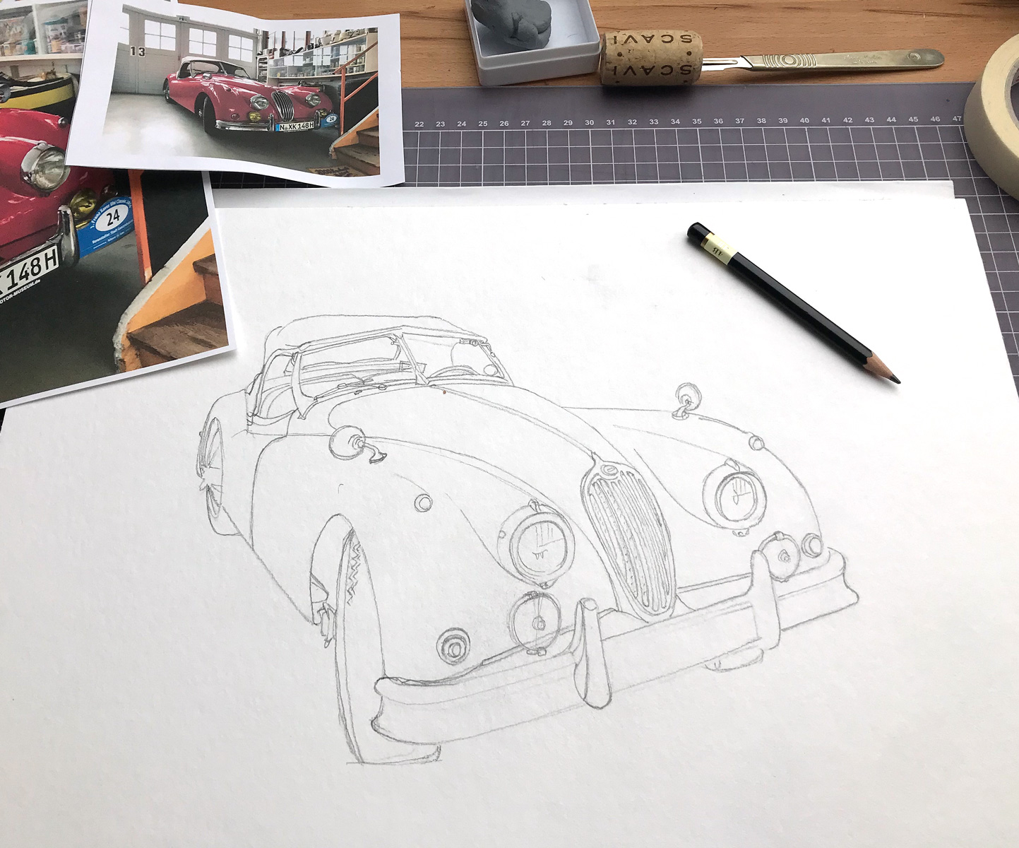 andrew l nash jaguar xk140 red sketch merks
